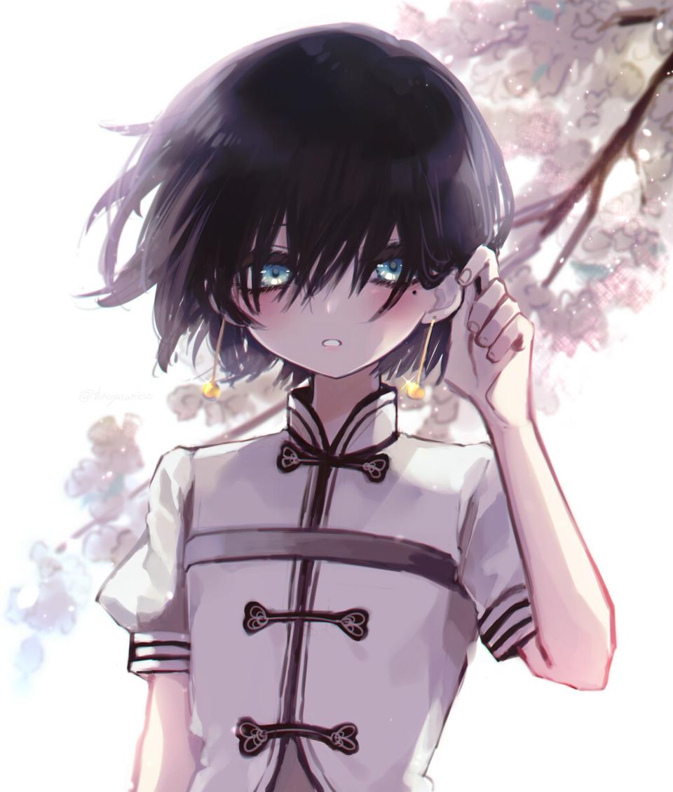 梅の香り Illust of 篠谷すみっこ April2021_Flower boy 黒髪 flower original