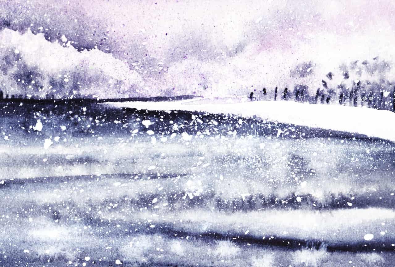 雪降る大河 Illust of おち☆よしかず(Occhiiy:オッチー☆) 風景画 透明水彩 アナログの本気 ゆき 川 雪景色