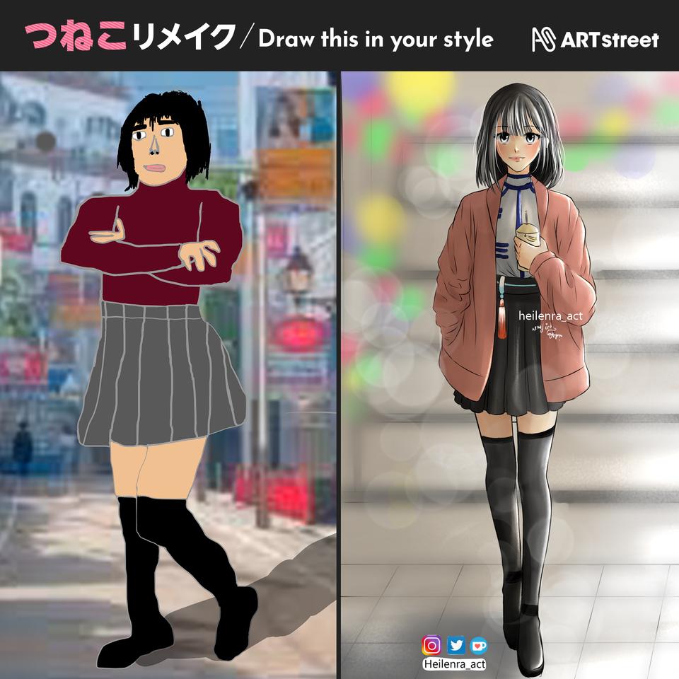💚Tsuneko💚 Illust of Heilenra_act animegirl medibangpaint TsunekoInYourStyle Jacket animeart black Tsuneko drawthisinyourstyle shorthair