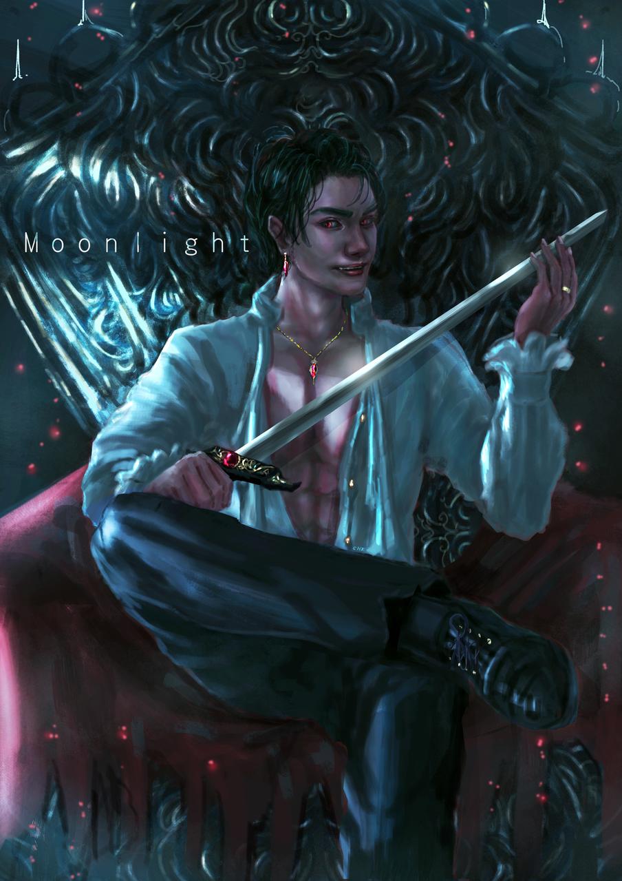 vampire-moonlight Illust of CHI-NAI January2021_Contest:OC February2021_Fantasy boy illustration eyes man original handsome vampire