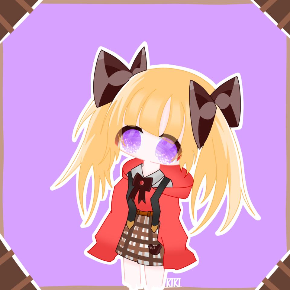 くま丸。の代理お借りしました Illust of 鬼姫 red twin_ponytails くま丸。 purple hoodie ribbon