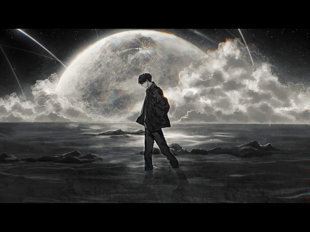 漫步月球下 Illust of 子蔡 May2021_Monochrome boy moon sea illustration 夢幻