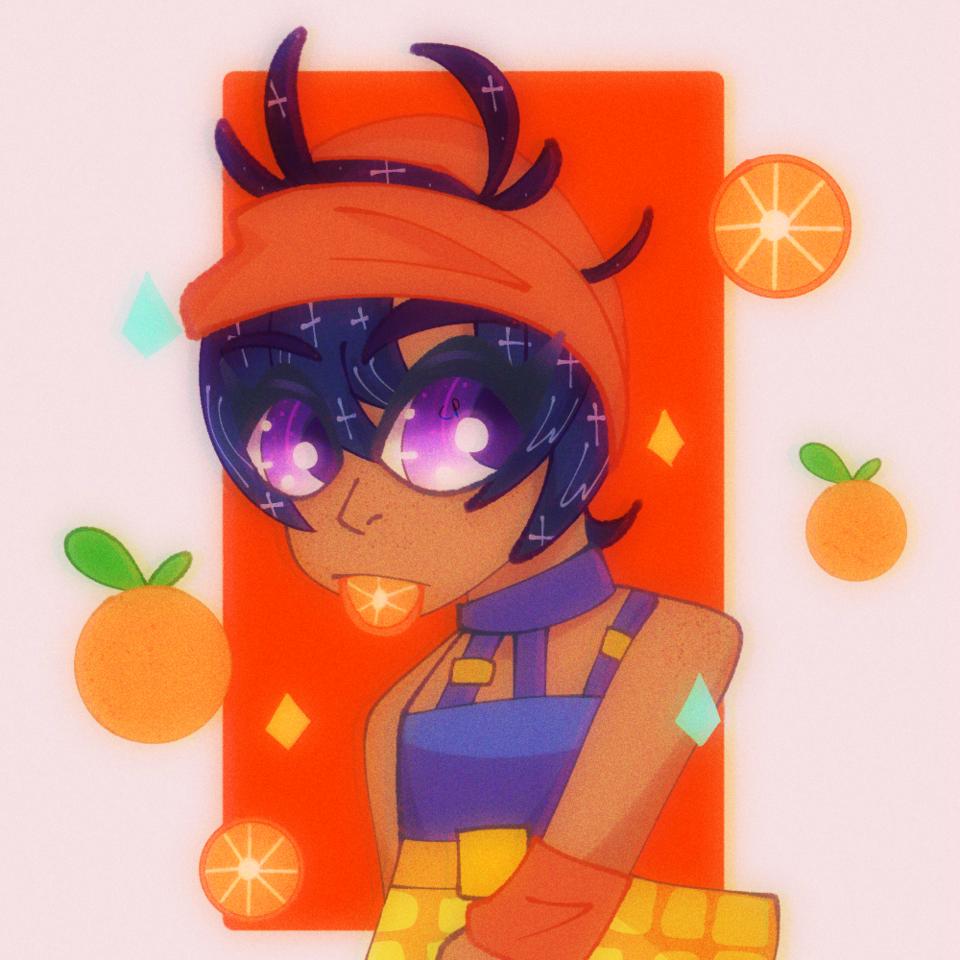 Big pp 😈😈😈 Illust of 🐳 Atomiic_Oceans 🐳 digital NaranciaGhirga anime Sparkly purple orange cute ibispaint aesthetic JOJO'S_BIZARRE_ADVENTURE