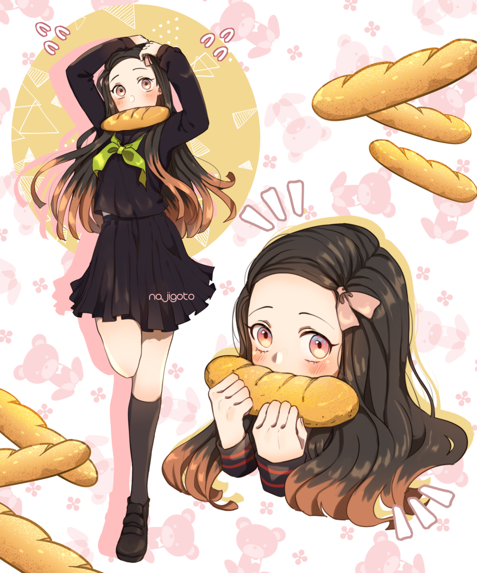 Nezuko's Bread!  Illust of 12314566 DemonSlayerFanartContest digital illustration KimetsunoYaiba kawaii cute KamadoNezuko food
