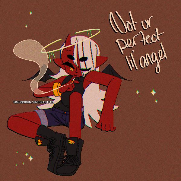 Spice Illust of Monobun oc demon fallenangel whitehair red digital pixelart halo