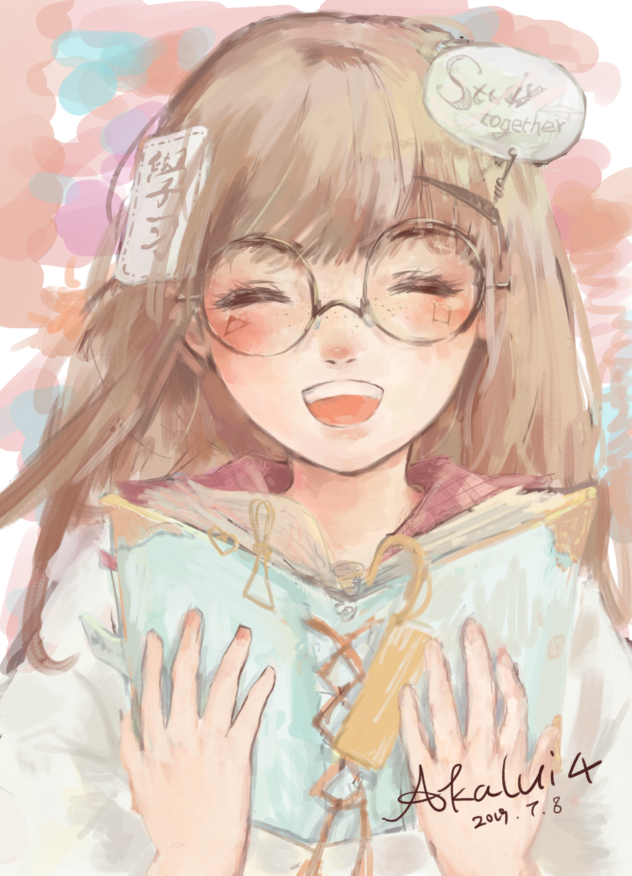 学习部海报 Illust of 舒十四*akalui glasses 本 original girl