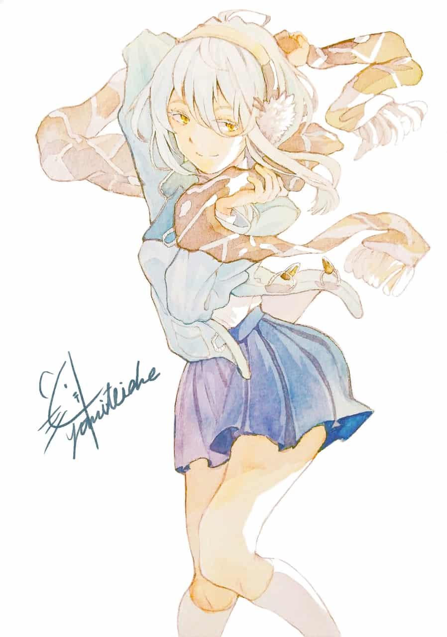 ⛄️ Illust of 陳田こころ マフラー 女子高生 illustration watercolor girl original アナログ絵