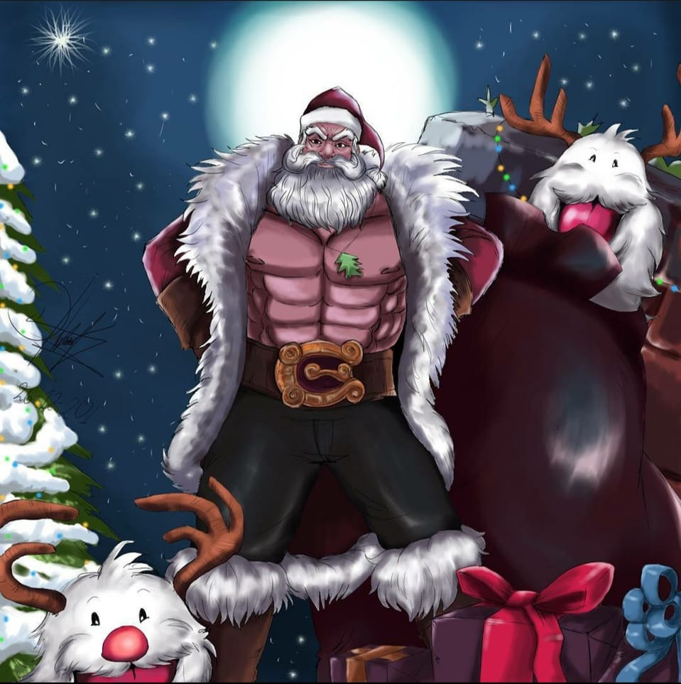 Santa Braum league of legends  Illust of Diana December2020_Contest:Santa Christmas follow Santabraum Navidad LeagueofLegends flower Link