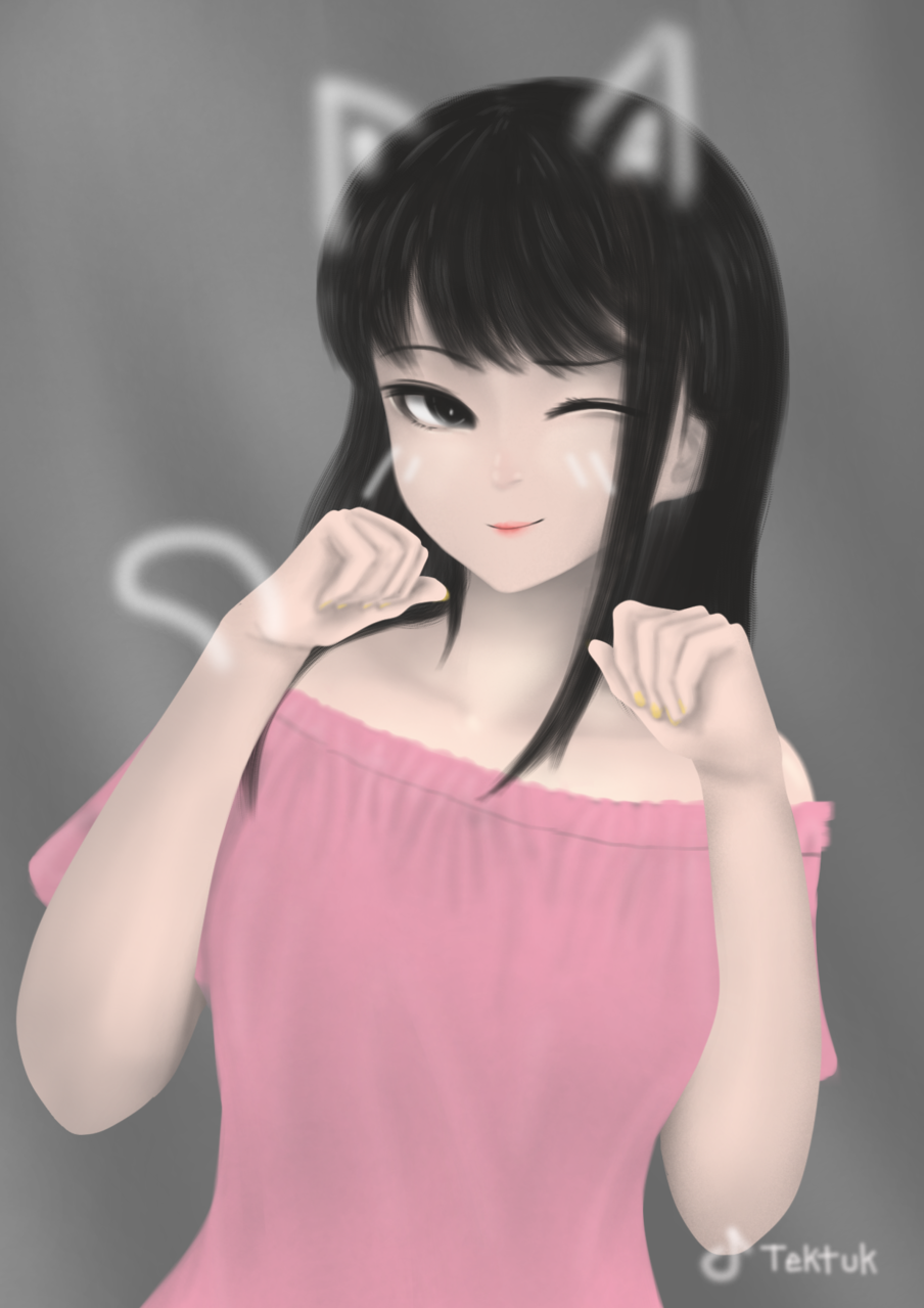 Tiktok Illust of Saito ARTstreet_Ranking anime cat Saitobigay tiktok cute pink beautiful
