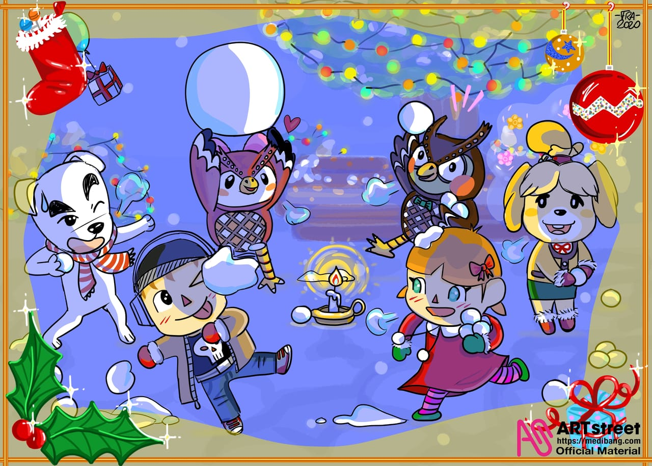 Christmas in the snow Illust of 🌸-FRA-🌸 tracedrawing4th December2020_Contest:Santa game AnimalCrossing girl Christmas light medibangpaint dog friend snow night
