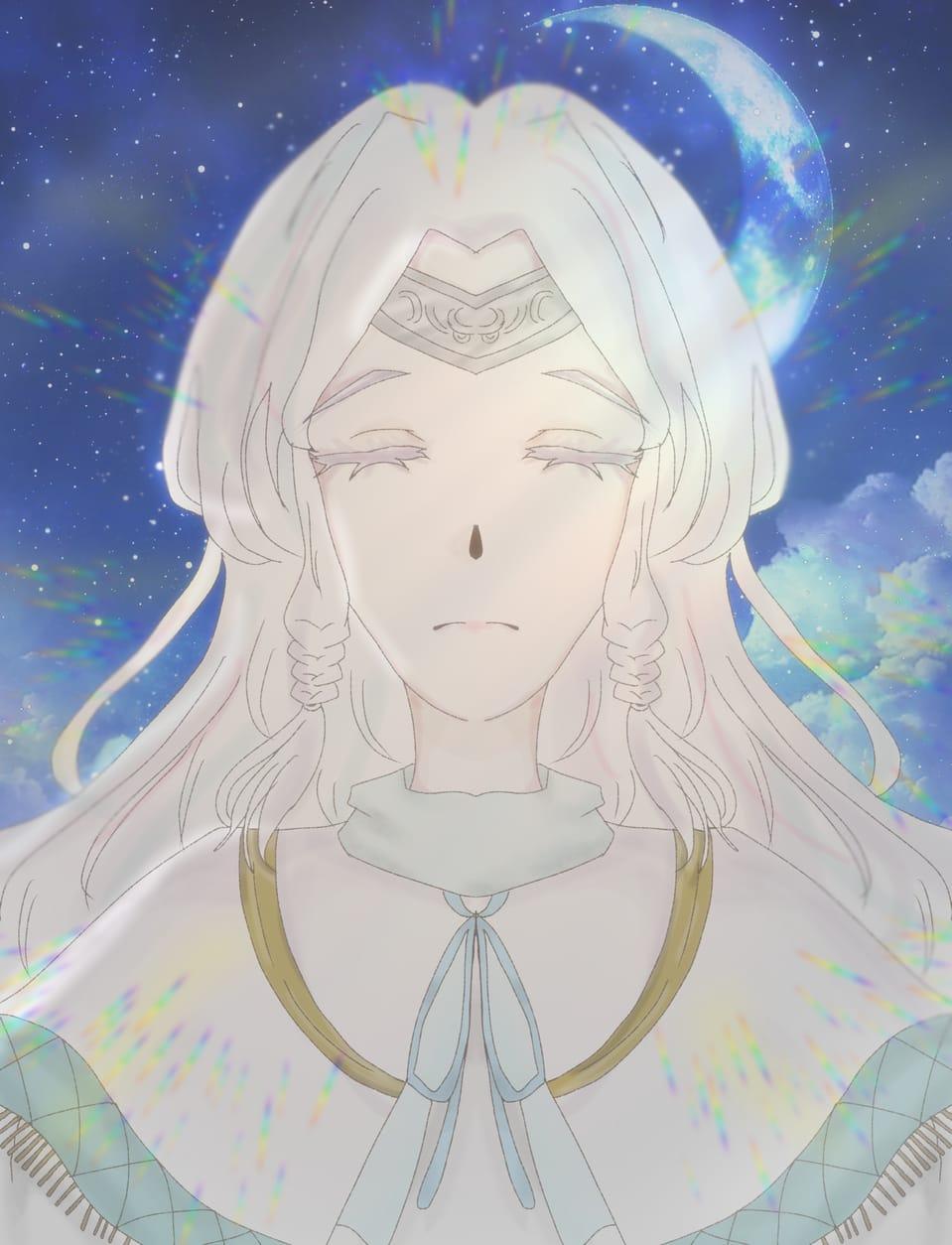 神秘 Illust of はるねぎ。@活動休止 #陰キャ同盟 white_hair oc 春葱 線対称 神秘的 アイビスペイント はるねぎ 左右対称 白髪少女