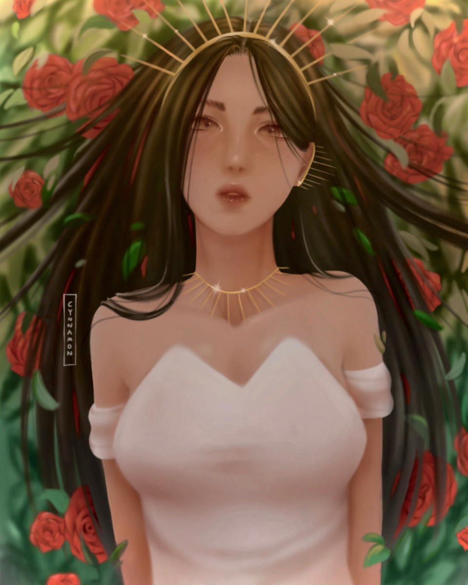 rose princess Illust of cynnamon April2021_Flower digital original garden originalart digitaldrawing rose digitalpainting flower