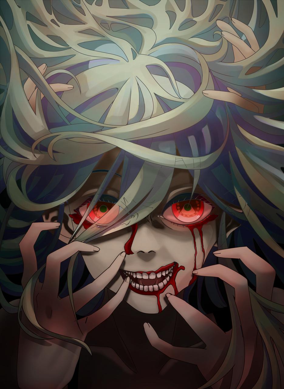 horror Illust of Akira Luca horror August2020_Contest:Horror digital MyArt girl hair greenhair smile dark redeyes scary