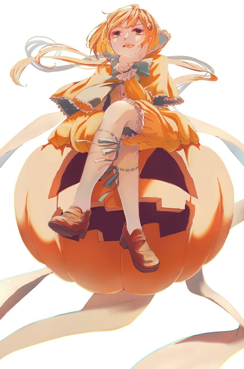 カボチャの姫さま🎃 Illust of 陳田こころ illustration painting オレンジ髪 oc girl かぼちゃ