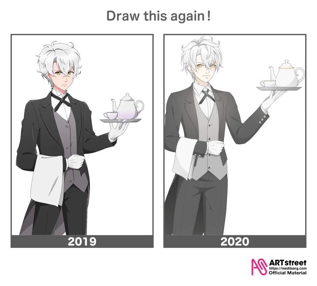 2019-2020 Illust of Bee 48 DrawThisAgain original waiter maid bow boy manga girl oc digital