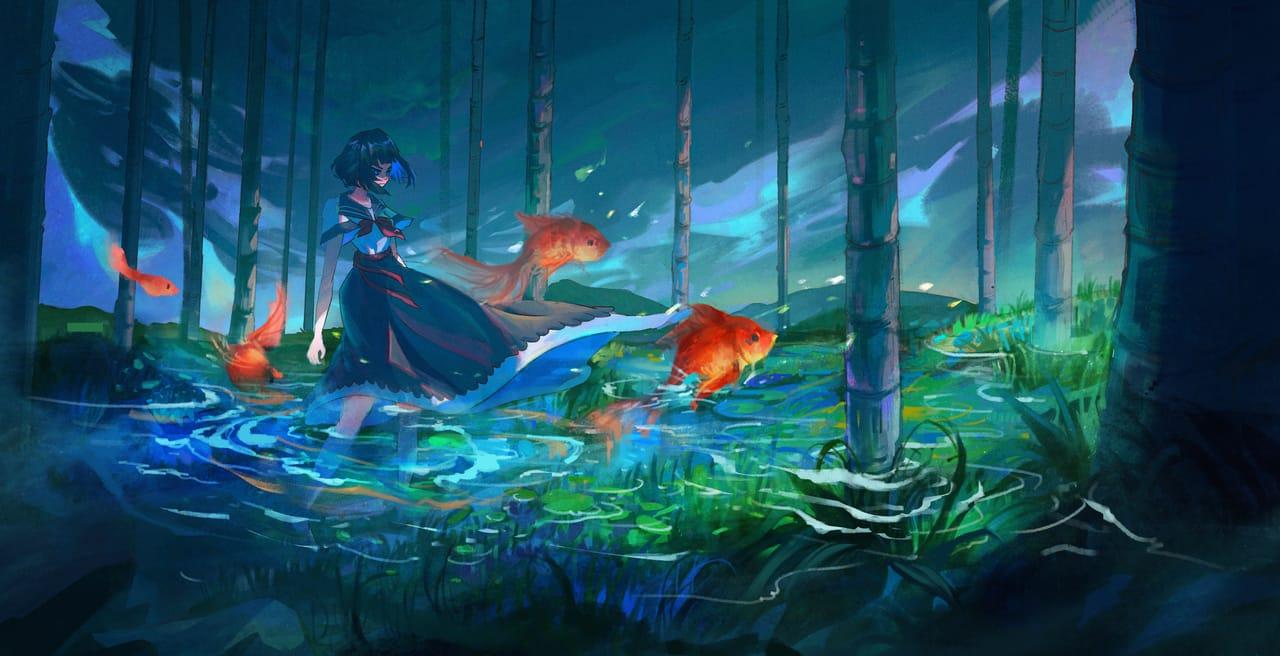 金魚般起舞 Illust of zixx h fantasy February2021_Fantasy color 場景 illustration Conceptart