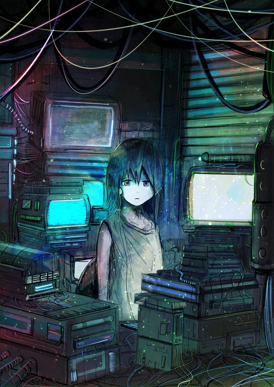 Lain Illust of Akit144 anime cutegirl fanart animegirl manga character illustration illustrations cyberpunk cute