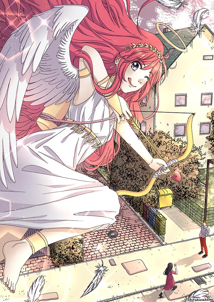 Love Cupid Illust of shirokumakumo Feb2020:VDAY love angel lovecupid ValentinesDay girl