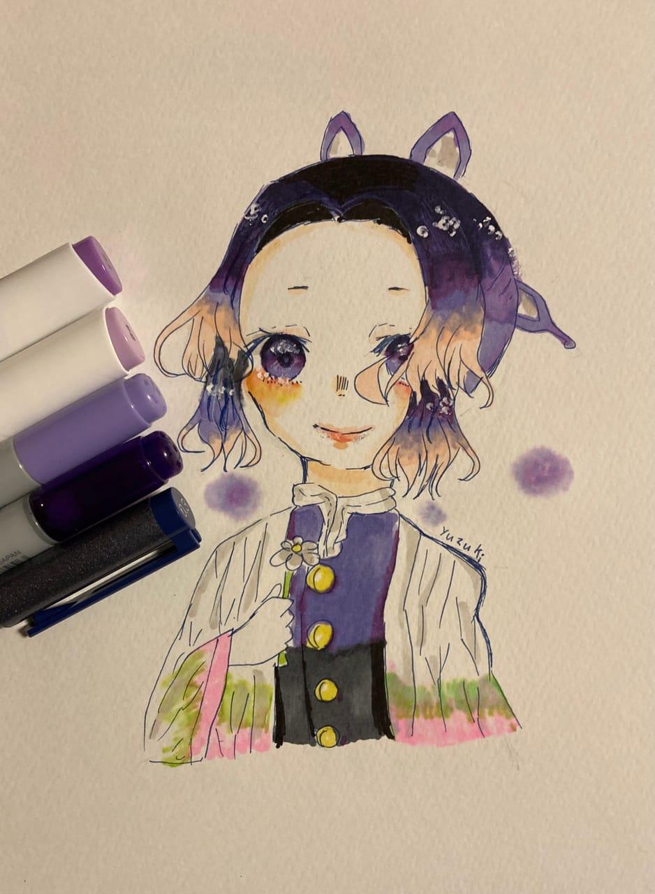 ※大遅刻   Illust of 柚鬼 Copic girl AnalogDrawing KochouShinobu illustration アナログ ohuhu KimetsunoYaiba