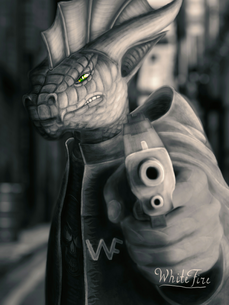 Stone jungle Illust of ℤ𝕖𝕟𝕜𝕒𝕥𝕒𝕣 medibangpaint realistic Street monochrome oc pistol Gun