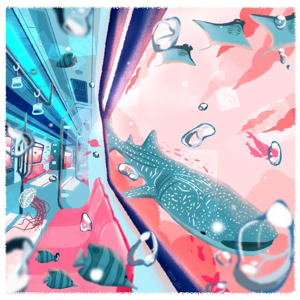 Travelling  Illust of Just_j1n ocean blue scenery pastel
