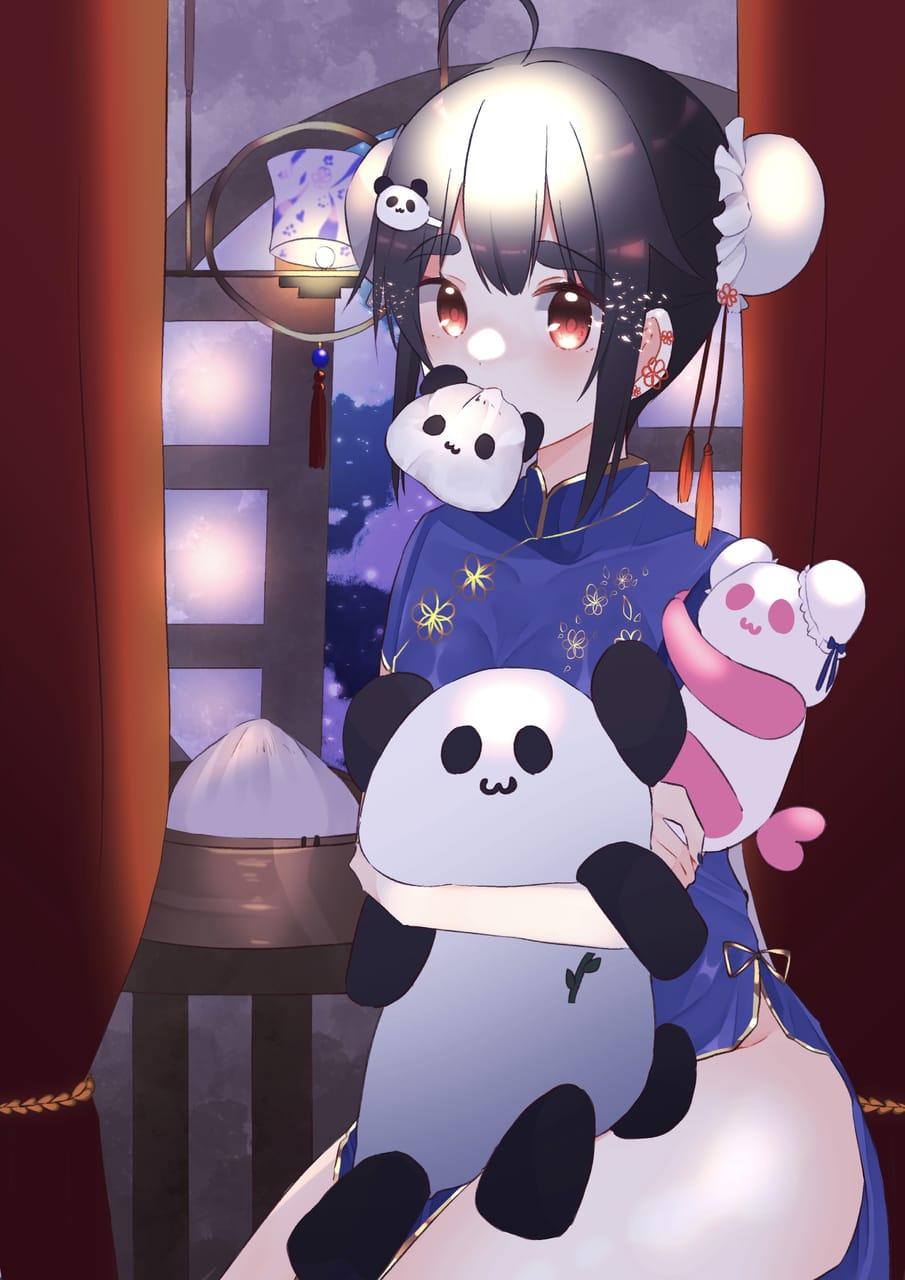 パンダとチャイナ服 Illust of お寿司 January2021_Contest:OC