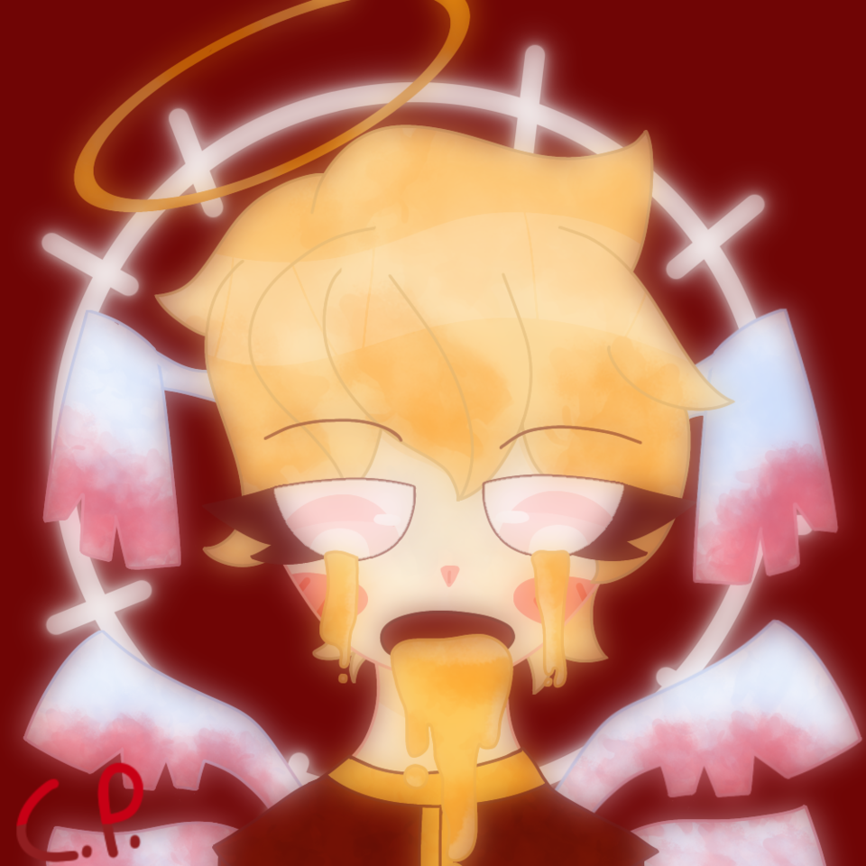 I don't like this drawing much but eh- Illust of Creampuffu ☹ै oc ibispaint doodle gold gore red digital aesthetic originalcharacters cartoon