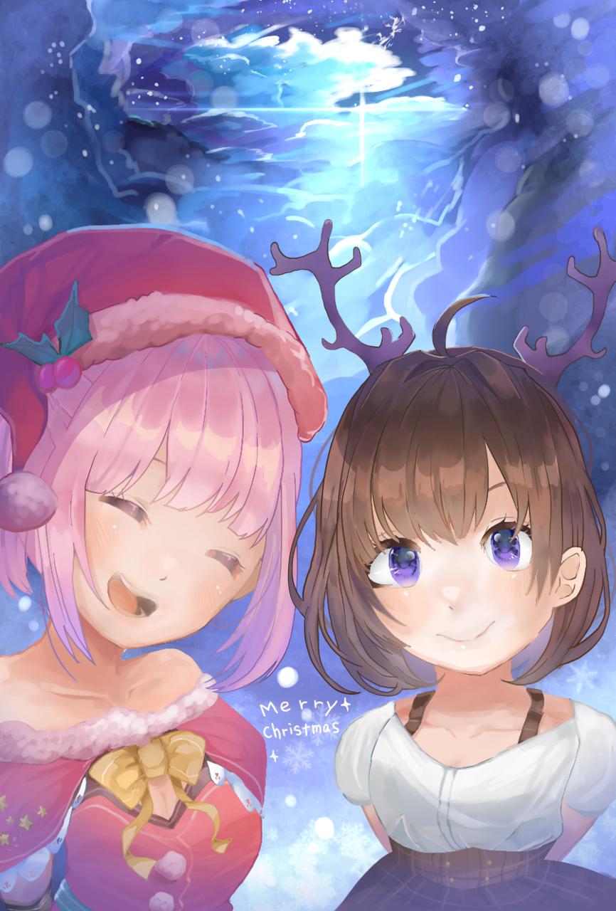クリスマス Illust of でかぴよ dec.2019Contest kawaii girl Christmas サンタ sky snow