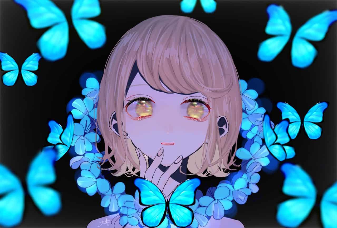 蝶 Illust of ch April.2020Contest:Color butterfly girl sad blue