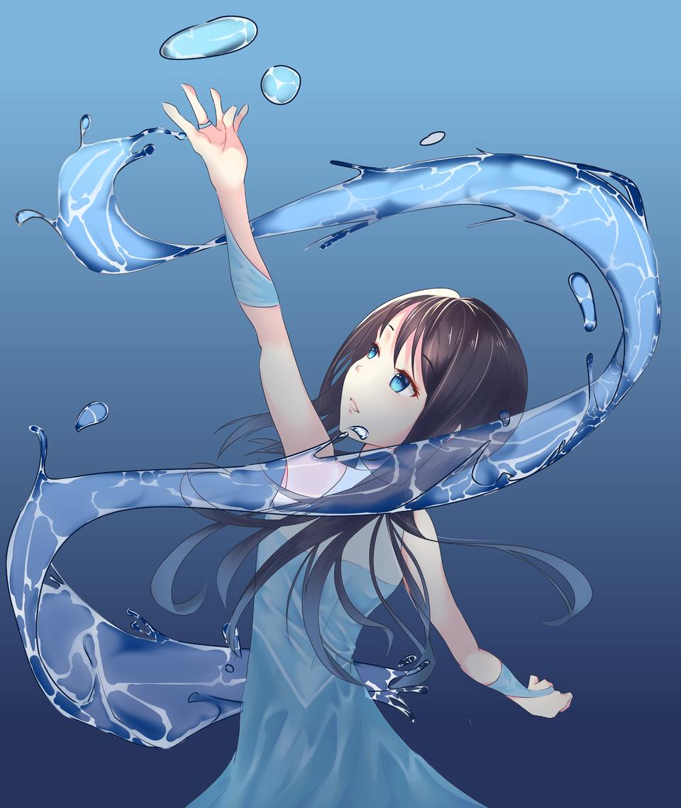 水魔法使 Illust of 中二x凜 original 魔法 禮服 medibangpaint girl water