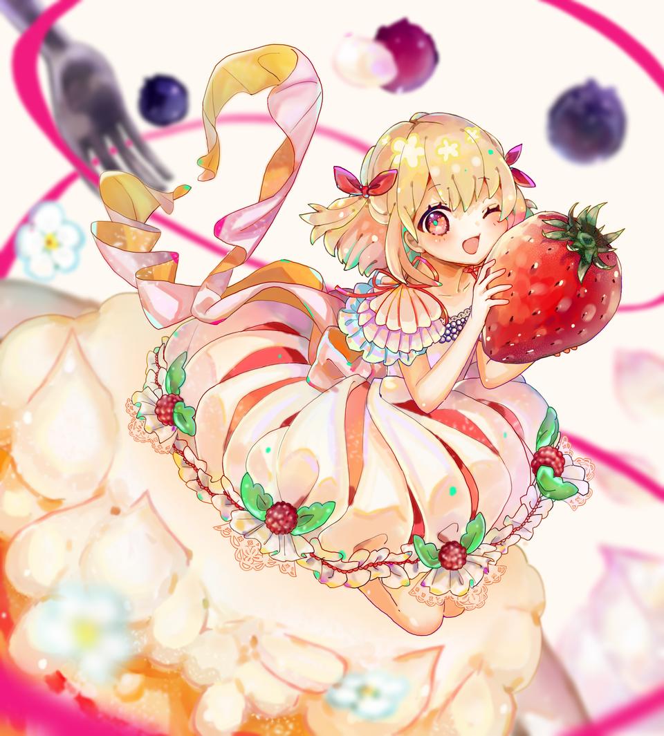 🍰 Illust of もぐらもぐもぐ medibangpaint スイーツ girl dress strawberry