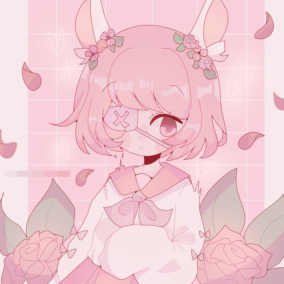 ✨🌹✨ Illust of pErSon medibangpaint rose pink bunnygirl cute aesthetic pastel