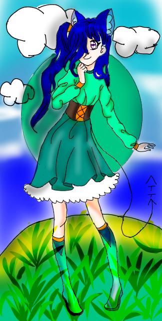 After remaking my oc moon Illust of {Bobà Leàf}🧋🌿 medibangpaint girl oc cute animegirl