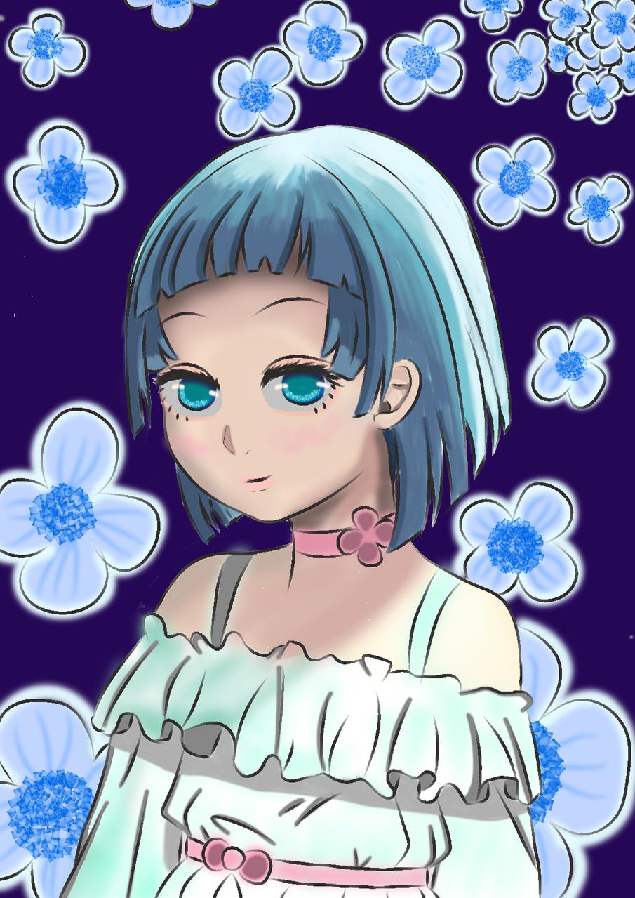 Blue Illust of bonayonayamae@gmail.com April2021_Flower medibangpaint