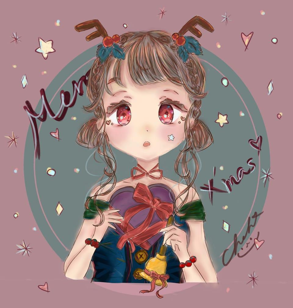 Merry X`mas Illust of かまぼこ Christmas 2020年12月例コンテスト:サンタク girl