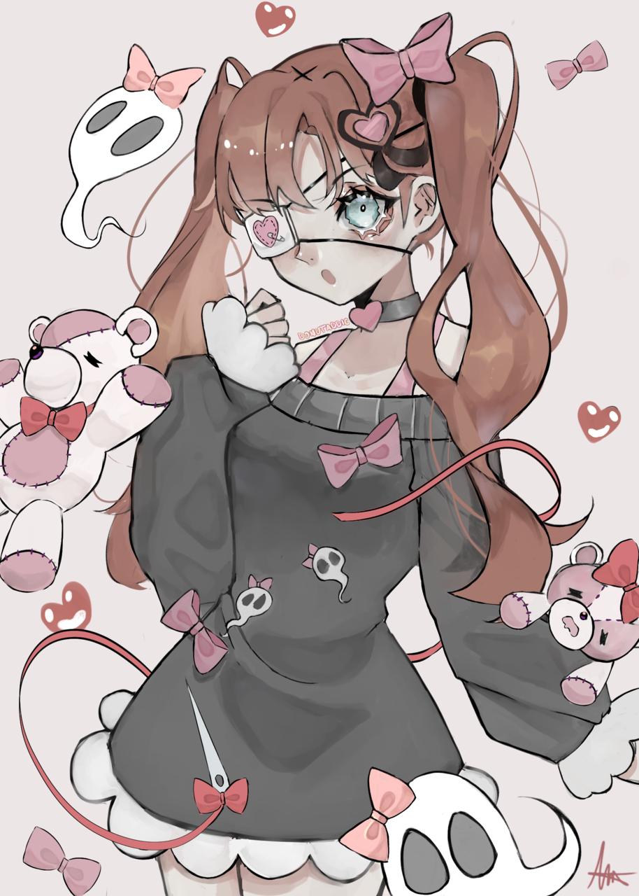 (+Video) Patchwork Soul Illust of DonutAddic anime painting animegirl kawaii pink ghost