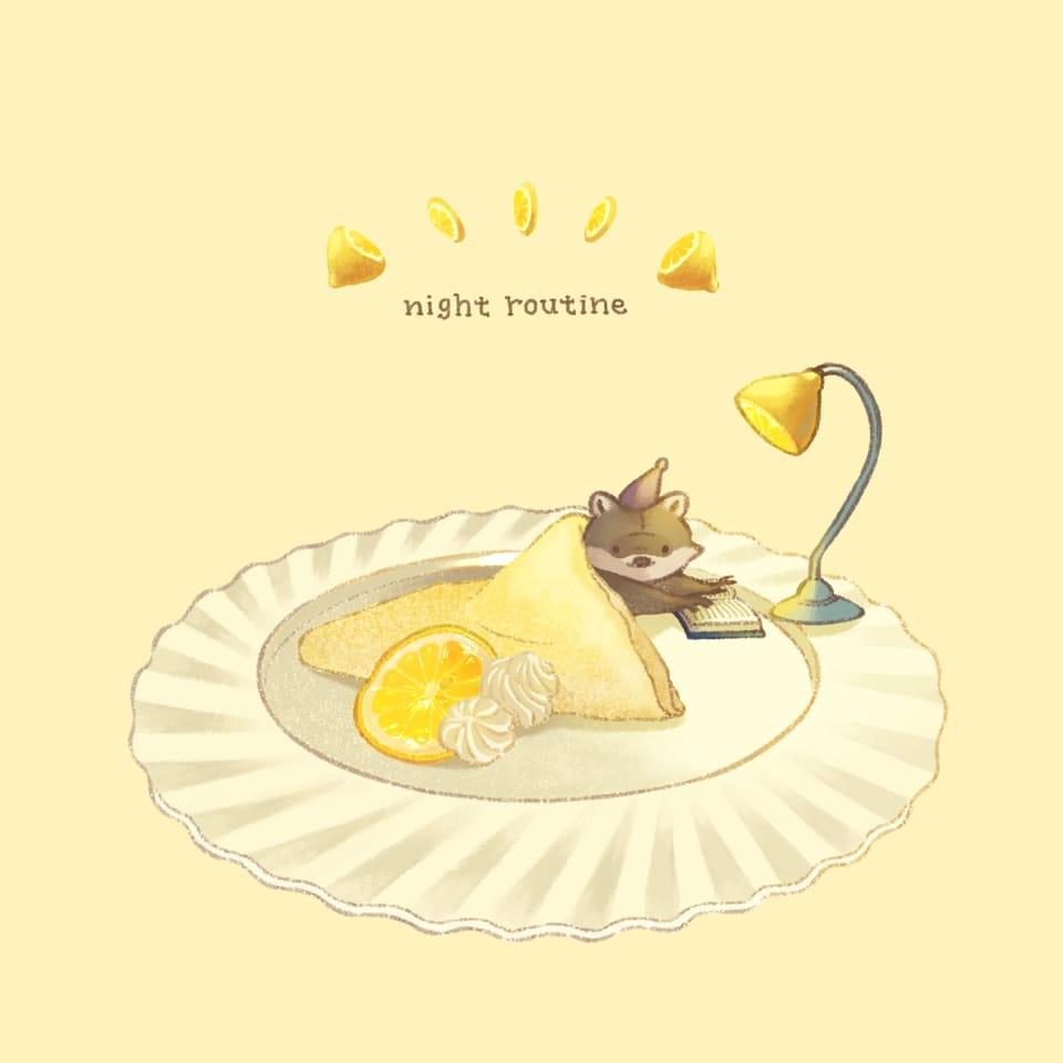 レモンクレープ Illust of ヒポポンゴ original スイーツ クレープ food animal レモン Raccoon