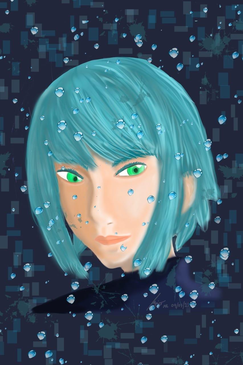 Aoi Illust of maoruai September2021_Girl girl 青い 彼女 bluehair 青色 blue painting water digitalpainting digital