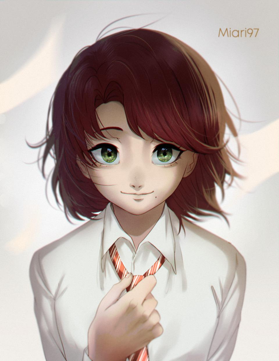 Kage (Subscriber's OC) Illust of Miari97 art sixFanartschallenge drawing boy greeneyes anime illustration redhair digital cute