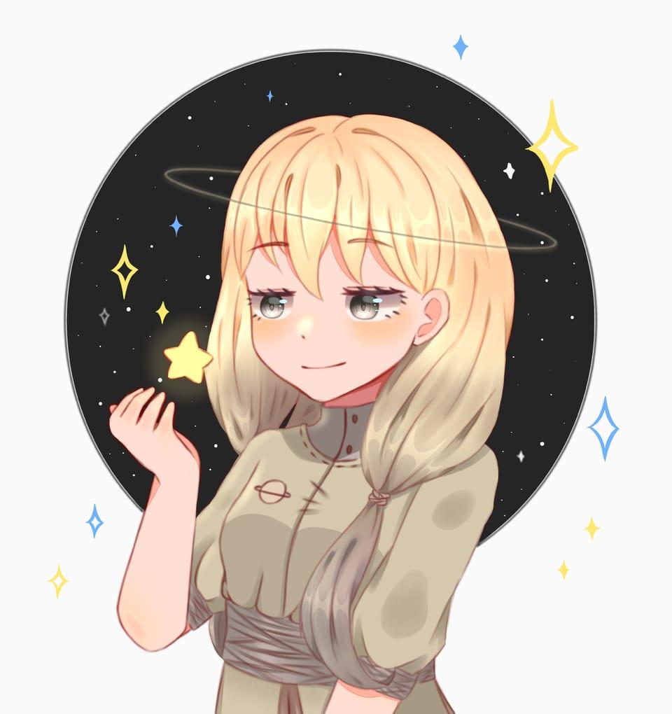 Saturno Chan  Illust of Haruka Art fantasy February2021_Fantasy cute rediseño planet kawaii yellow anime Saturn green oc