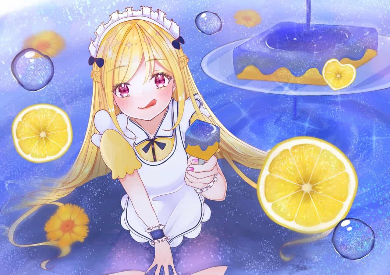 夜空のソースのレモンケーキ Illust of かりー blue maid レモン blonde illustration girl cake original