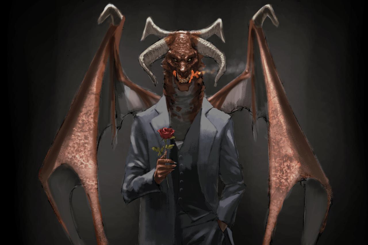 イケメン(笑) Illust of com dragon 人外 ファンタジーキャラ handsome rose オリジナルキャラ suit monster