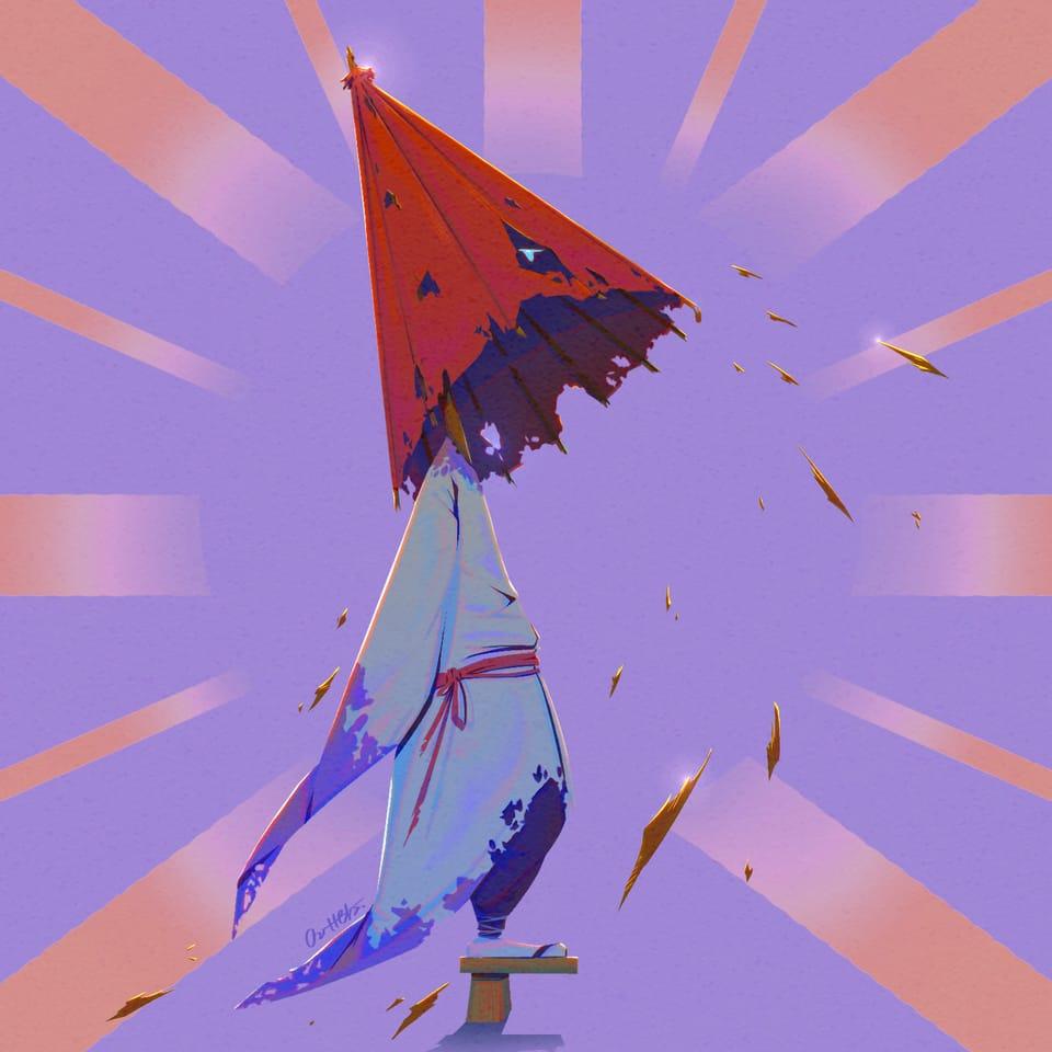 Umbrella Swordsman/ 傘劍客 Illust of Outter's Space January2021_Contest:OC oc illustration fantasyart spirit ink knight umbrella traditional
