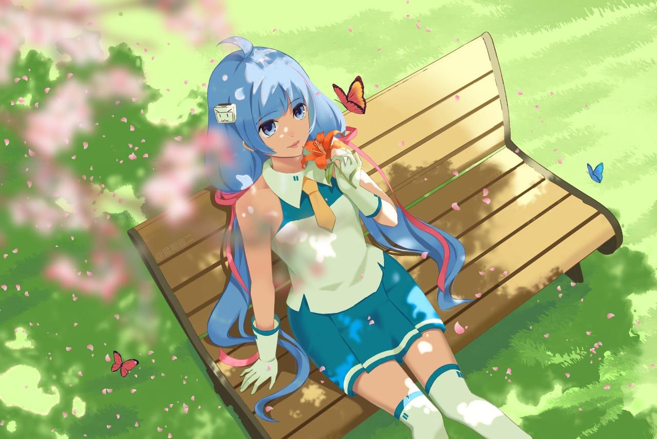 Illust of 星期音二 green girl 蓝发 butterfly