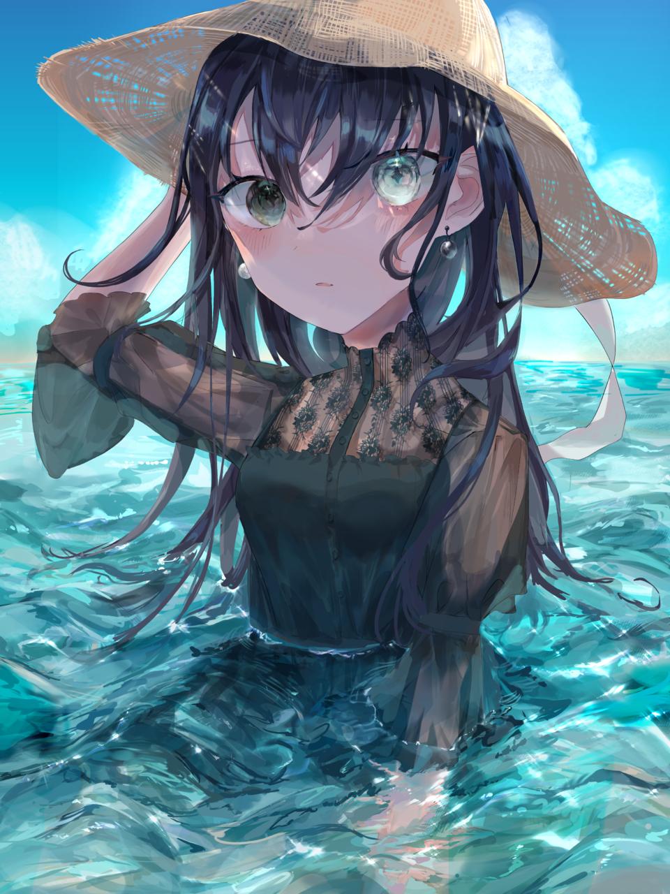 真珠 Illust of ねおん* original summer Strawhat sea illustration water
