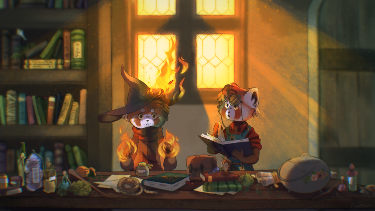 spirit powers Illust of Mochamy fantasy September2020_Contest:Furry magic witch au furry oc fantasyau redpanda fire mage