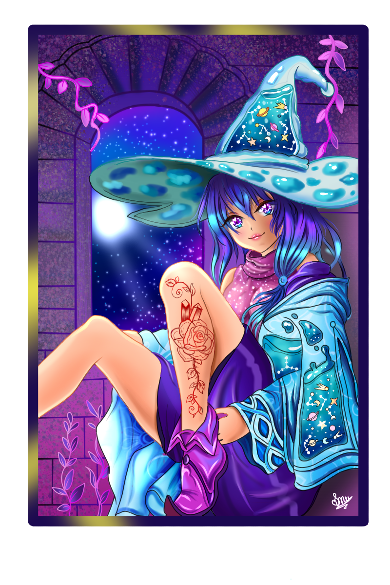 Medi chany witchy witchy Illust of Cheesywhiskers January2021_Contest:OC August2020_Contest:Horror MediBang_General_Election February2021_Fantasy General_Election_Medi-chan June2020_Contest:Street_Art star witch Fingerpaint medibangpaint iPad_raffle