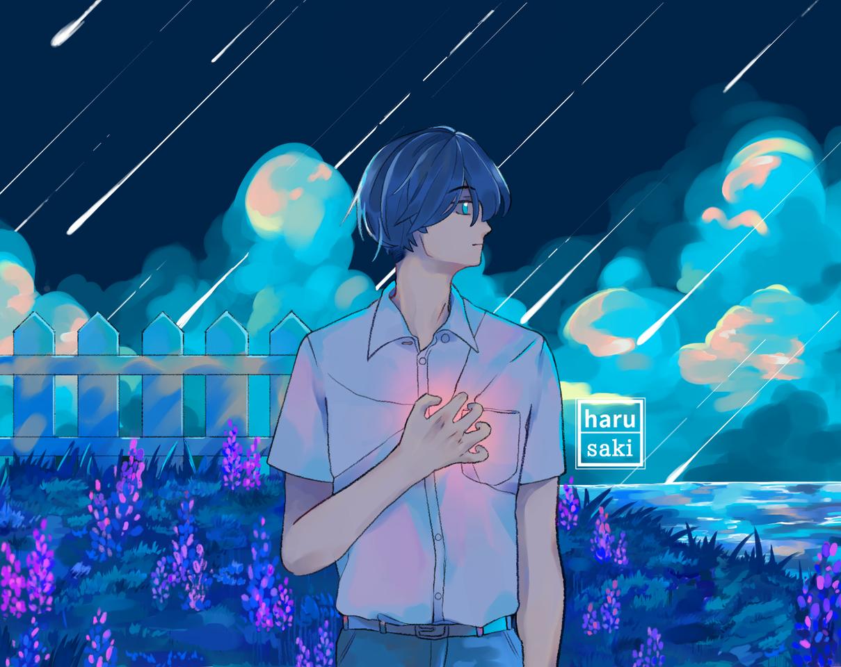 Dream Illust of harusaki medibangpaint oc blue meteor background star