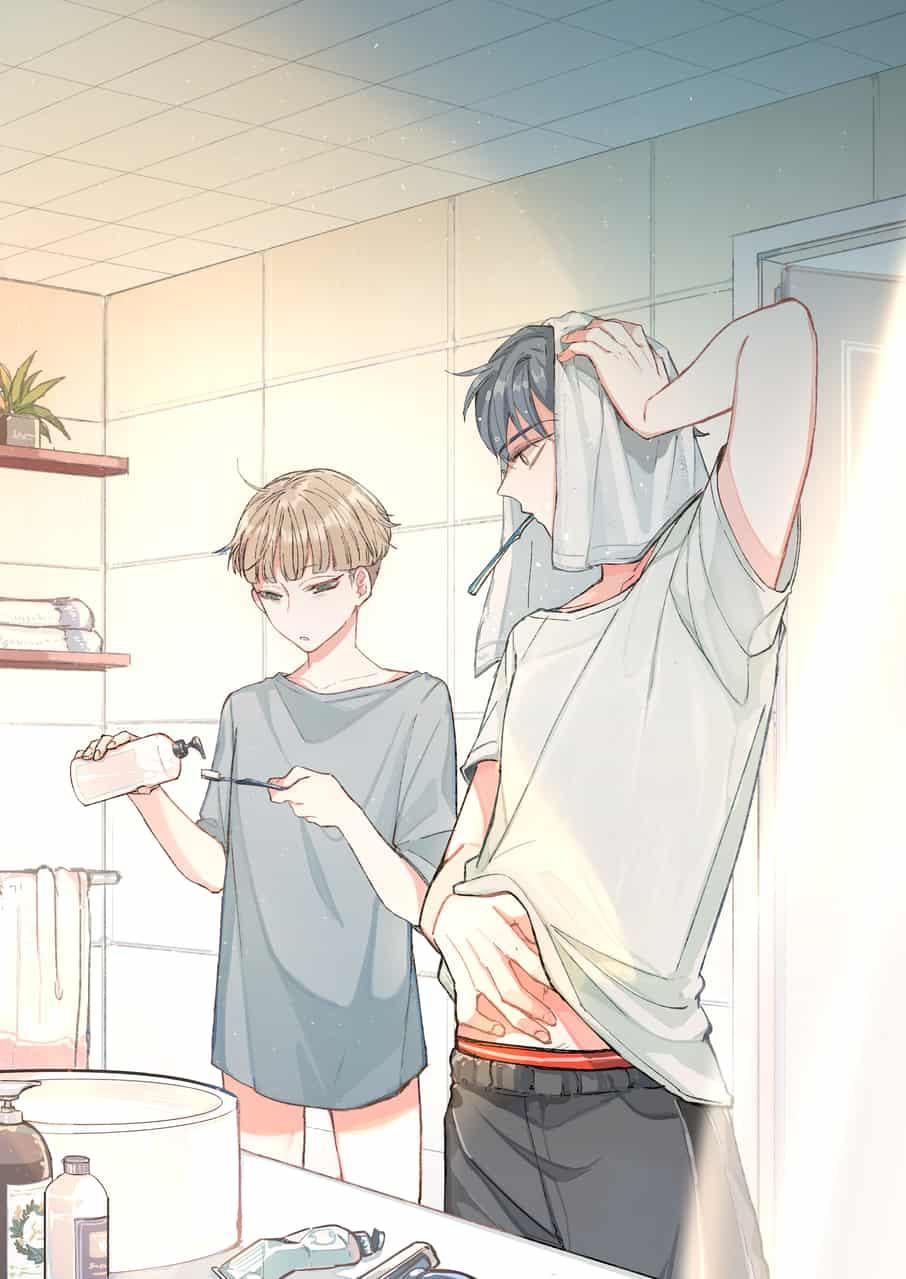 morning Illust of Gene 歯磨き 日常 ヘソちら イケメン