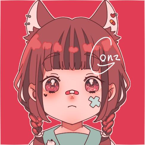 Practice Illust of ☠🎀ごんざれす🎀💊 chibi 病みかわいい 闇 きらきら 病み girl kawaii animal_ears 絆創膏 piercing